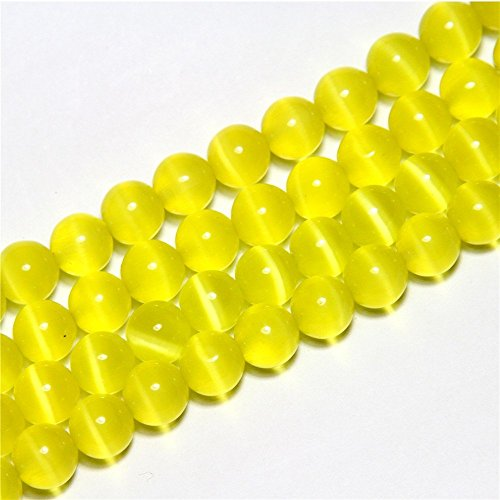 8mm Round Yellow Cat Eye Beads Loose Gemstone Beads for Jewelry Making Strand 15 Inch (47-50pcs) (Cat Gemstone Eye)