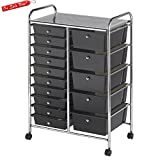 Multi Drawer Plastic Storage Organizer On Wheels Cart Rolling Black Casters Easy Viewing Organized Top Simple and Modern Style For Tools Clothing Toys Papers & eBook by BADA shop