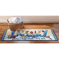 Collections Etc Extra Long Colorful Laundry Bubbles and Suds Floor Runner Rug