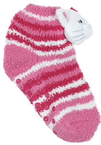 Capelli New York Cute Kitty Cozy Slipper Socks With 3d Soft Boa Pom & Grippers Pink Combo Medium
