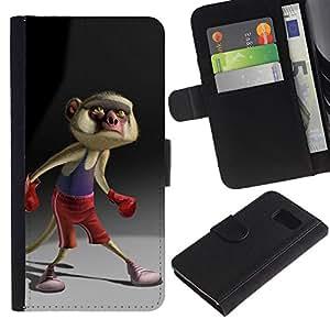 Boxeo de la historieta de la cola de personaje- la tarjeta de Crédito Slots PU Funda de cuero Monedero caso cubierta de piel Para Samsung Galaxy S6