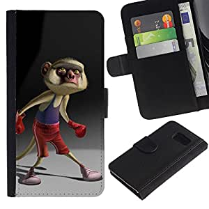 Billetera de Cuero Caso Titular de la tarjeta Carcasa Funda para Samsung Galaxy S6 SM-G920 / Cartoon Boxing Tail Character / STRONG