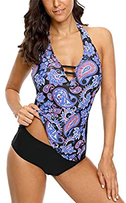 ALove Printed Two Piece Tankini Swimsuit for Women Tummy Control Bathing Suit