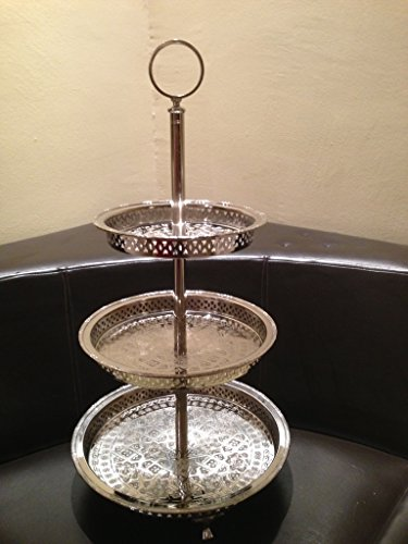 - Authentic Handmade Moroccan 3 Tier Silver Plated Brass Hand hammered Cookies Tray Cake Stand Modern Design