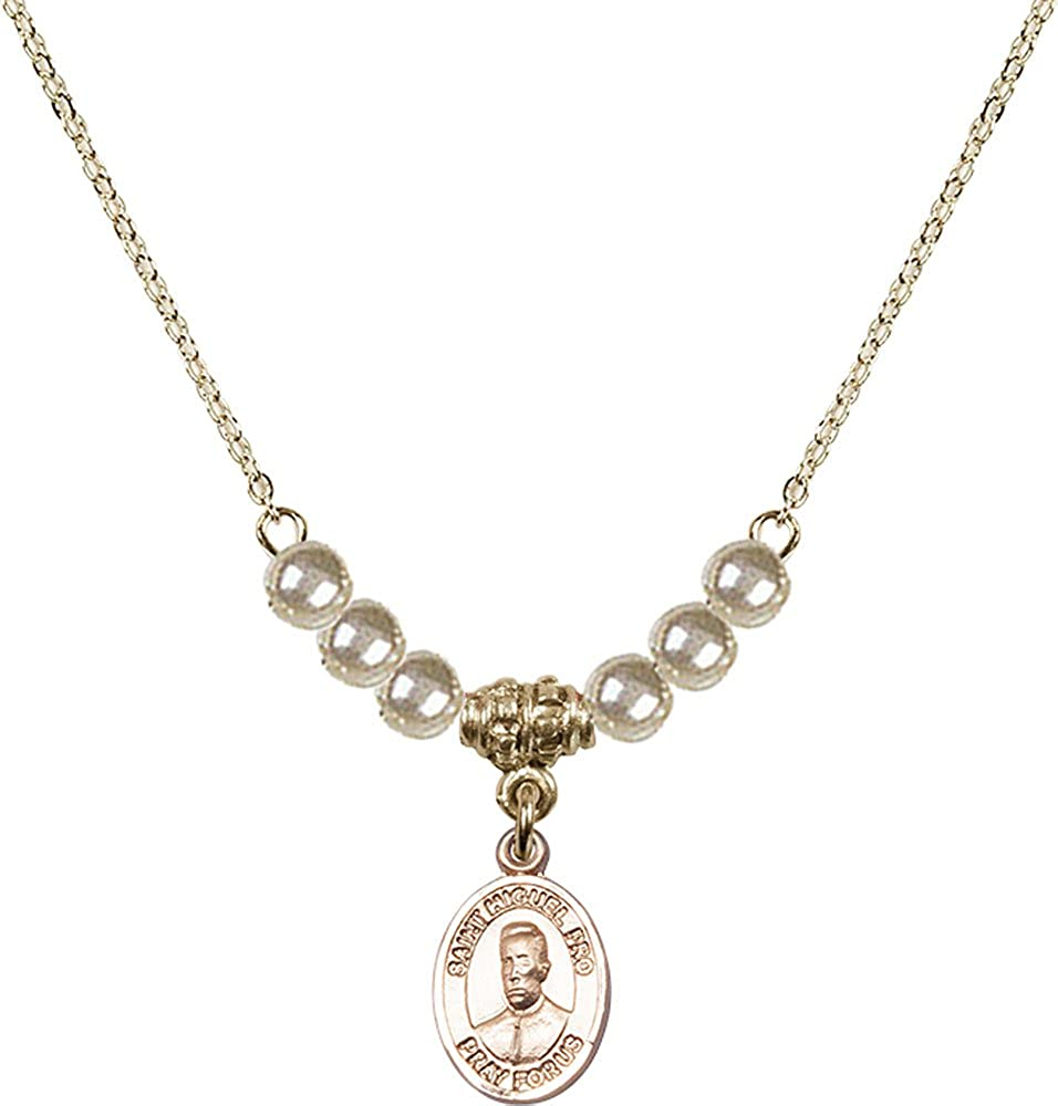 18-Inch Hamilton Gold Plated Necklace with 4mm Gold Filled Beads and Gold Filled Blessed Miguel Pro Charm.