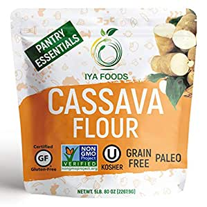 Iya Foods Premium Cassava Flour 5 lbs bags, Plant-Based, Grain-Free, Certified Gluten-Free, Kosher Certified, Non-GMO Verified, Allergen-Free, Paleo, Natural, All-Purpose Flour