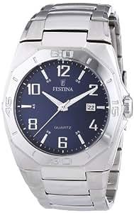 Festina Sport F16504/3 - Reloj analógico de cuarzo para hombre, correa de acero inoxidable color plateado (agujas luminiscentes)