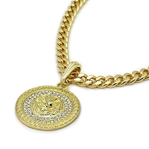Mens Medallion Pattern Lion Gold Plated Cz Pendant Greek w/ 6mm 24