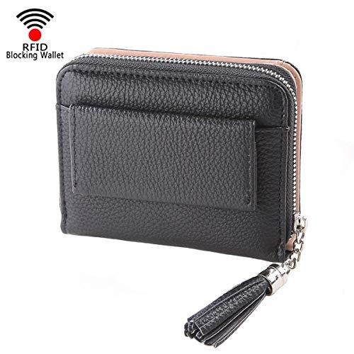 Women Small Wallet Lady Mini Purse Bifold Leather Short Wallet RFID Blocking with ID Window (A-Black) ()