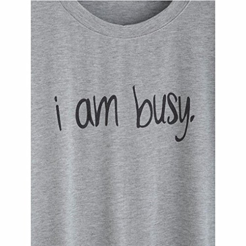 Rcool Mujeres de la Letra del Patrón de Manga Corta de Camisa de Blusa Casual Tops Verano T-shirt Gris