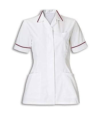 0b41876708ebc Instex Womens Nurses Healthcare Tunic, Dental Vet Salon, White with Maroon  Trim, INS32WH