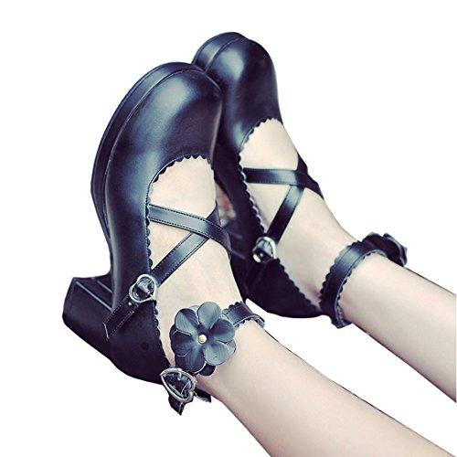 cnstone ロリータ 靴 ロリータパンプス ロリータ靴 メイド靴 ロリィタ靴 ロリータジーンズ ヒール 可愛い お嬢様 お姫様風 ガールズ 花びら ロリータファッション (24.0cm  ブラック)