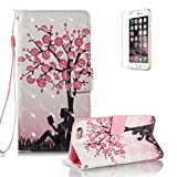 iPhone 6S Plus/6 Plus Case [with Free Screen Protector].Funyye Elegant Premium Folio PU Leather Wallet Magnetic Flip Cover with [Wrist Strap] and [Colorful Printing Painting] Stand Function Book Type Stylish Full Protection Holster Case Cover for iPhone 6/6S Plus (5.5 Inch)-Plum Blossom Girl