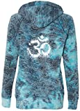 Yoga Clothing For You Ladies TIE DYE OM V-Hoodie, 2XL Bahama Blue (mid-Back) For Sale