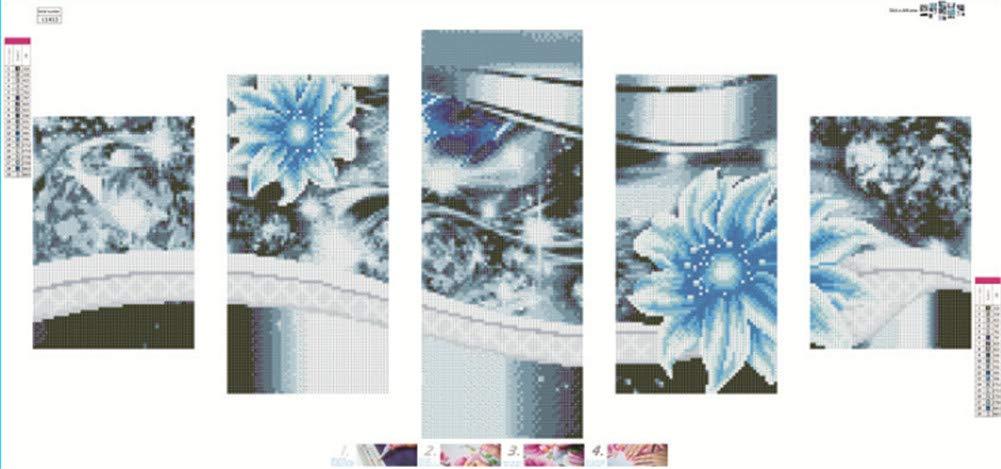 Fully 5er / Set Flower Splicing DIY 5D Diamond Painting by Numero Kit Immagini del Ricamo per Adulti Decorazione Bambini (Fiore-I, 45X95CM/17.71X37.4)