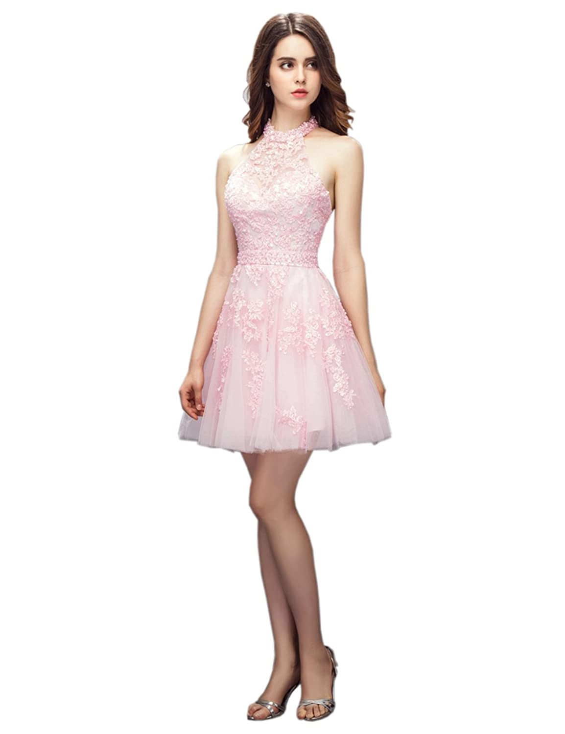 Ikerenwedding Women's Halter Beading Lace Appliques Short Tulle Club Party Dress
