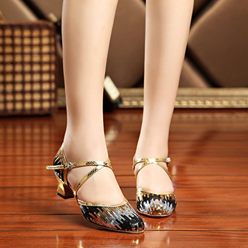 Wedding Ballroom Sequin 5 Ladies Taogo Pleather Pumps Strap TH135 Shoes Black Dance Gold UK Cross MINITOO 5 Latin FzU8RqxnwR