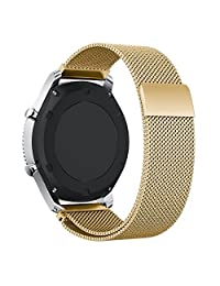 VOCOOL Watchband Milanese Loop Stainless Steel Smart Watch Strap Universal Bracelet Width 22mm Fully Magnetic Closure Bands for Women and Men (22, Gold)