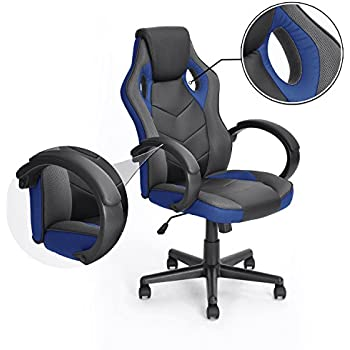 Gaming Chair Racing Chair Workstation Computer chair Coavas Office High Back PU Leather Computer Chair Executive Swivel Task Desk Chair( Black+ blue) ¡