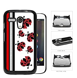 Cute Ladybugs Pattern With Red & Black Stripes [Motorola (Moto G)] Hard Snap on Plastic Cell Phone Cover