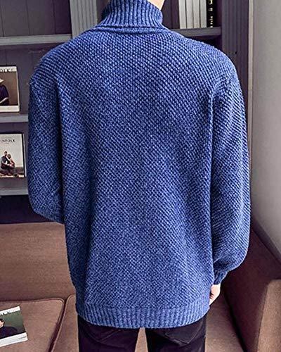 Punto Otoño Jersey De Suéter Hombre Cuello Pulóver Alto Mengyu Azul Invierno wxYRqXnFn5