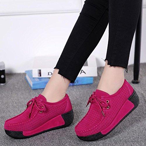 Erschütterungs Breathable Schuhe Sport Flache Mode Damen Herbst Toe Round Freizeit Hollow Lazzboy Pink PU41xAzw