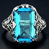 Sumanee Huge Blue Topaz Gemstone 925 Silver Ring Men Women Anniversary Party Jewelry Hot (7)