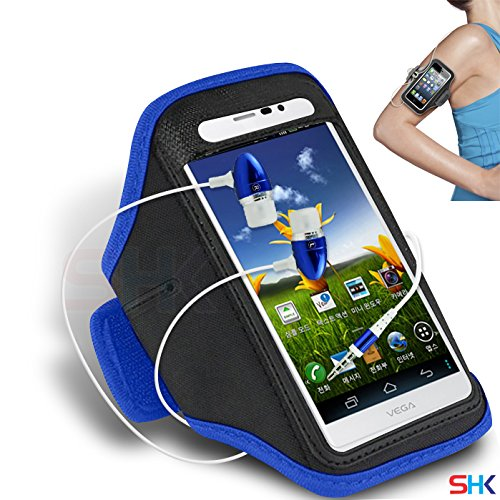 PANTECH Vega R3 IM-A850L BLUE + EARPHONE Adjustable Armband Sport Gym Bike Cycle Running Jogging Sports Case Cover Holder Pouch (DD) with Premium Quality in Ear Buds Stereo Hands Free Headphones Headset with Built in Microphone Mic and On-Off BY SHUKAN®