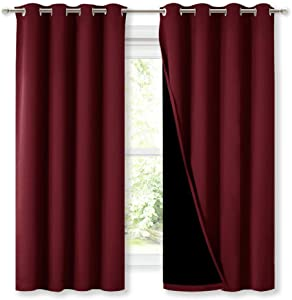 NICETOWN 100% Blackout Curtain Panels, Thermal Insulated Curtains, Noise Reducing Drapes for Window Decor on Christmas & Thanksgiving (Set of 2, Burgundy Red, 52 inches Wide by 63 inches Long)