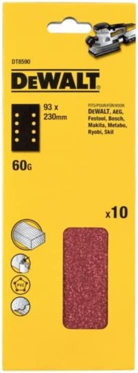 10 Piece Dewalt DT8620-QZ Quater sheet sanding belt 3.7x13.54 K60