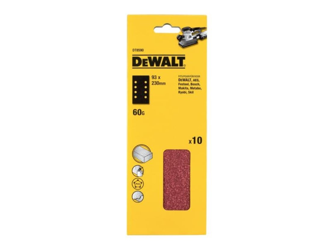 10 Piece Dewalt DT8624-QZ Quater sheet sanding belt 3.7x13.54 K240