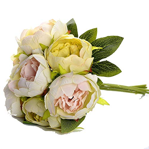 Sevem-D Bridal Wedding Bouquet Artificial Silk Rose Peony 7 Heads Flower Pink Bridesmaid Bouquet DIY Party Prom Wedding,Cyan]()