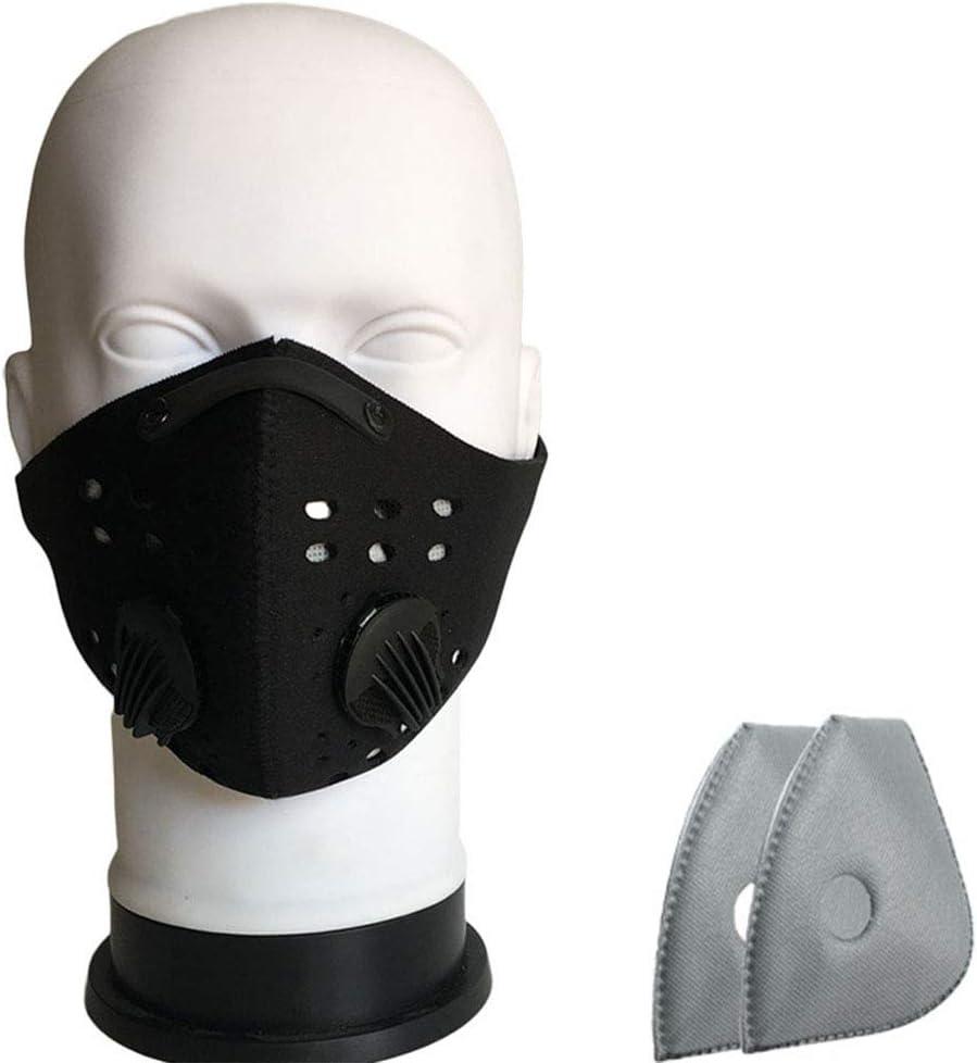 Activado Protección carbono de la seguridad con 5 capas de filtro puede prevenir las alergias de polen de humo, anti-niebla y el smog, conveniente para el aire libre que monta,Negro,filter cotton 5PCS