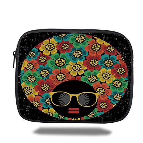 Tablet Bag for Ipad air 2/3/4/mini 9.7 inch,70s Party Decorations,Abstract Woman Portrait Hair Style with Flowers Sunglasses Lips Graphic Decorative,Multicolor -