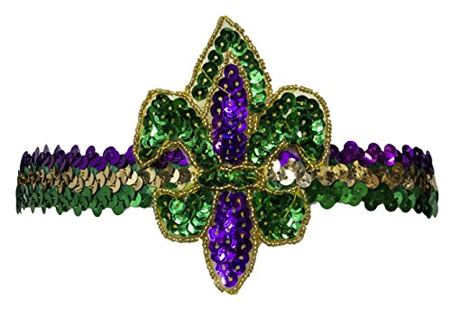 Jacobson Hat Company Unisex-Adults Mardi Gras Fluer Di Lis Headband, Purple, Adjustable