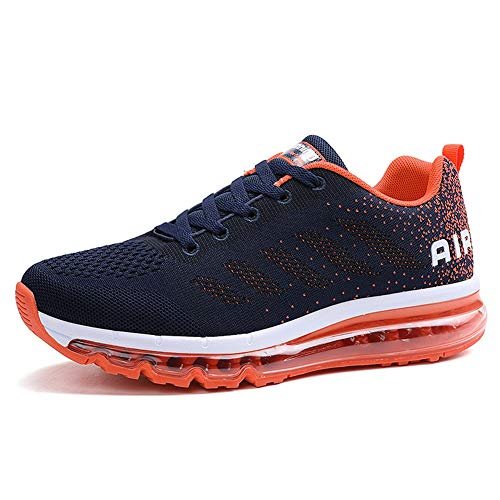 Gagigakac Men Women Air Cushion Running Shoes Casual Gym Athletic Jogging Walking Tennis Sneakers Orange US:8