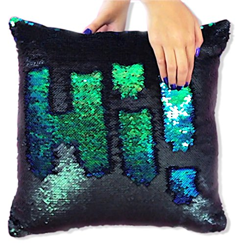 Mermaid Pillow Reversible Sequin Pillow that Changes color by Ankit - Mermaid Green Black (5 Couch Person)