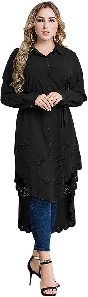 Ababalaya Women's Casual Long Sleeve Muslim Kaftan Malaysian Long Blouse with Wrap M-6XL,Black,Tag Size 6XL = US Size 18W-20W