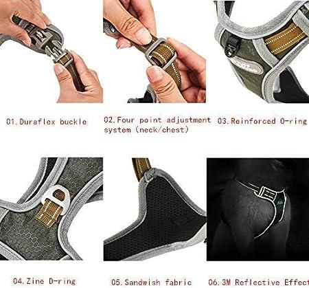 Maxmer Arnes Perro Peque/ño Tipo Chaleco Antitirones Adjustable con Manija 3M Reflectante Nylon Tama/ño S S, Verde Claro