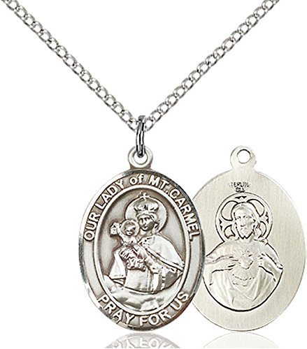 (O/L of MOUNT CARMEL / Sterling Silver O/L of Mount Carmel Pendant / Sterling Silver Lite Curb Chain / Chile)