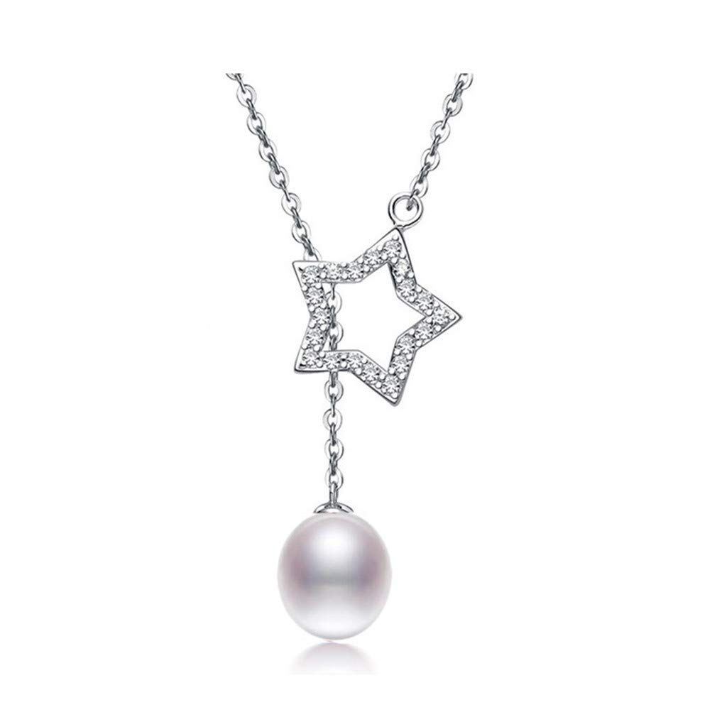 9-10Mm Natural Pearl Necklace 925 Sterling Silver Necklace Pendant For Women Real Freshwater Pearl Jewelry Necklace pink 9-10mm 45cm