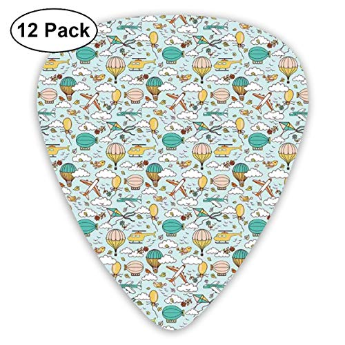 Celluloid Guitar Picks - 12 Pack,Abstract Art Colorful Designs,Cartoon Style Sky Pattern With Birds Hot Air Balloons Planes Kites And Clouds,For Bass Electric & Acoustic Guitars.
