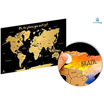 Watercolor World Scratch Off Map Travel Tracker Deluxe Us States And Canadian Provinces Labeled 24 X 36
