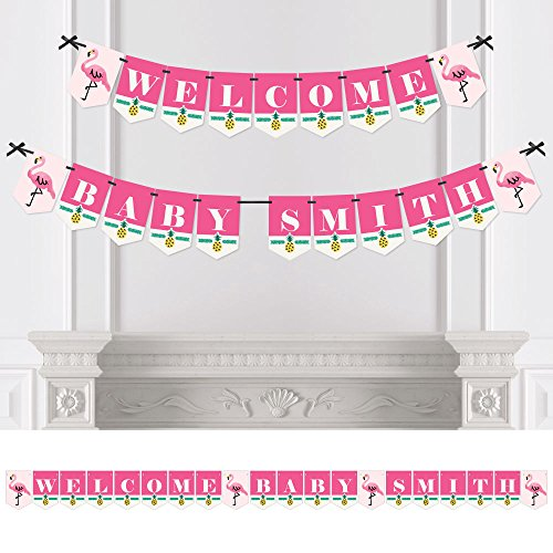 - Big Dot of Happiness Custom Pink Flamingo - Party Like a Pineapple - Personalized Tropical Summer Baby Shower Bunting Banner & Decoration - Welcome Baby Custom Name Banner