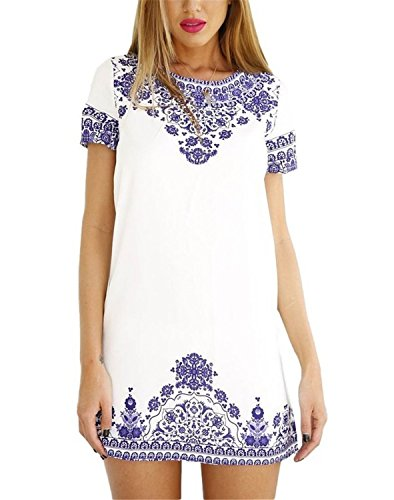 yisqzjzj Seasonal Women's Vintage Short Sleeve Porcelain Print Swimsuit Cover Up Mini Dress WhiteX-Large