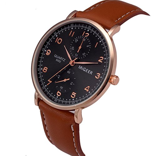 (Hot Sale! Napoo Men Retro PU Leather Band Analog Alloy Quartz Wrist Watch (Brown B))