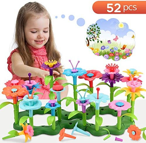 LET`S GO Flower Garden Building Toys for 3-8 Year Old Girls Arts and Crafts for Girls Activities Outside Sand Toys for Toddlers DIY Learn Educational Pre-Kindergarten for Kids - Best Gifts (52 PCS)