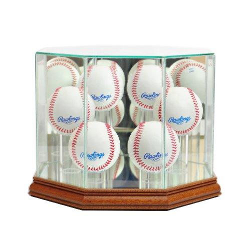 (Perfect Cases MLB Octagon 6 Baseball Glass Display Case, Walnut)