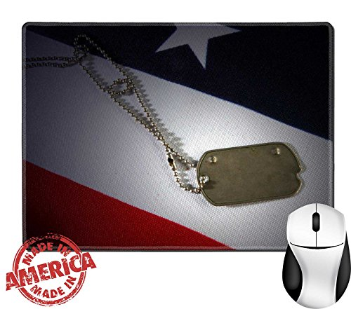 """Luxlady Natural Rubber Mouse Pad/Mat with Stitched Edges 9.8"""" x 7.9"""" Dog tag on American Flag Freedom is not free IMAGE ID 7515749"""