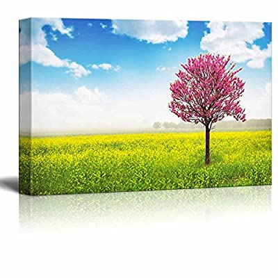 Canvas Prints Wall Art - Pink Tree in Yellow Field and Blue Sky - 16